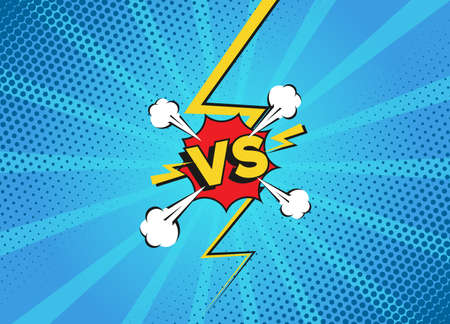Versus fight backgrounds in flat cartoon comics style. Vs battle challenge isolated on blue background. Comic fighting duel with lightning ray border.