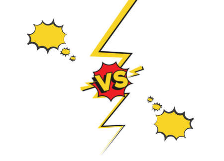 Versus fight backgrounds in flat cartoon comics style. Vs battle challenge isolated on white background. Comic fighting duel with lightning ray border.