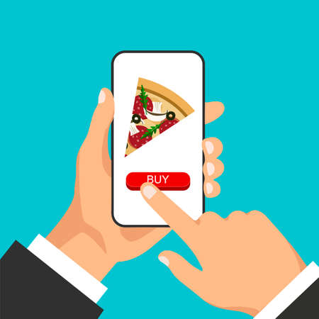 Hand holds smartphone and orders pizza online. Pizza slice on the phone display.