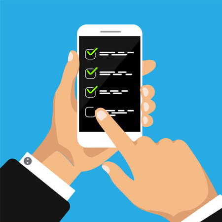 To do list concept. Hand holds smartphone and finger touch display. Check box on a phone screen. Businessman accept button and click on it. Vector illustration. Ilustracje wektorowe