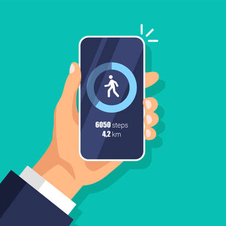 Fitness steps tracker app on mobile phone. Pedometer concept. Day activity and tracking data on smartphone display. Vector illustration.