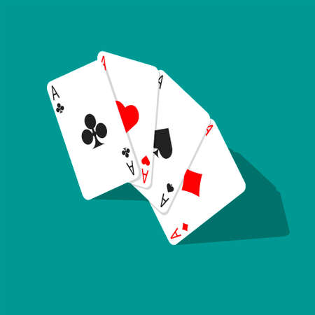 Four aces poker cards isolated on green background. Isometric playing card. Vector illustration. 向量圖像
