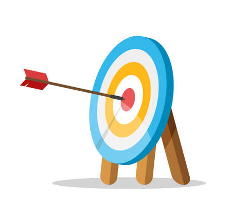 Target with an arrow hit the center. Business challenge and goal achievement concept. Vector illustration isolated on white background.