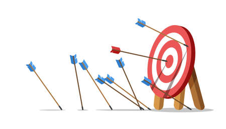 Business challenge failure concept. Lots arrows missed hitting target mark and only one hits the center. Shot miss. Failed inaccurate attempts to hit archery target. Vector illustration. Vektorgrafik