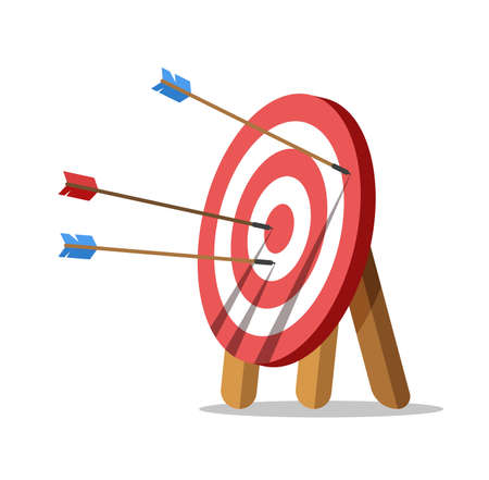 Target with an arrows. One arrow hit the center of target. Business challenge and goal achievement concept. Vector illustration isolated on white background.