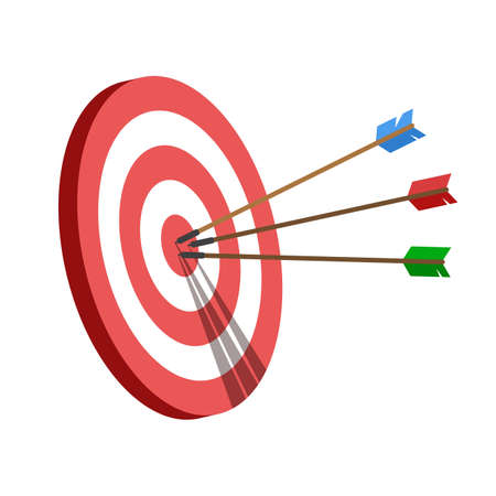 Target with an arrows, hit the target. Business challenge and goal achievement concept. Vector illustration isolated on white background.