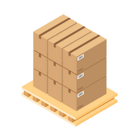 Isometric brown cardboard boxes on wooden pallet. Warehouse parts box on wood tray. Cargo box. Vector illustration isolated on white background. Vetores