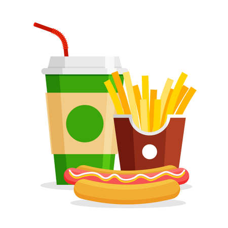 Lunch with french fries, hot dog and soda in trendy flat style. Take away fastfood. Restaurant junk food menu. Vector Illustration. 矢量图像