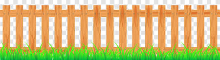 Wood farmer's fence with grass. Wooden plaque and crossed boards isolated on transparent background. Vector illustration