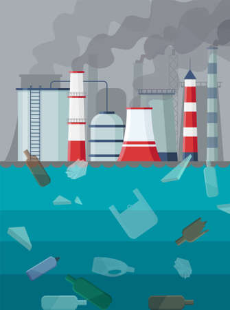 Factory air and ocean pollution. Environmental contamination carbon dioxide emissions. Trash on sea surface. Toxic factories and plants with fumes or smog. Polluting chimneys vector illustration.