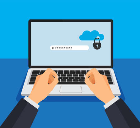 Open laptop with locked cloud storage on a screen. File protection. Hand enters password. Data security and privacy concept on computer display. Safe confidential information. Vector illustration. Ilustración de vector