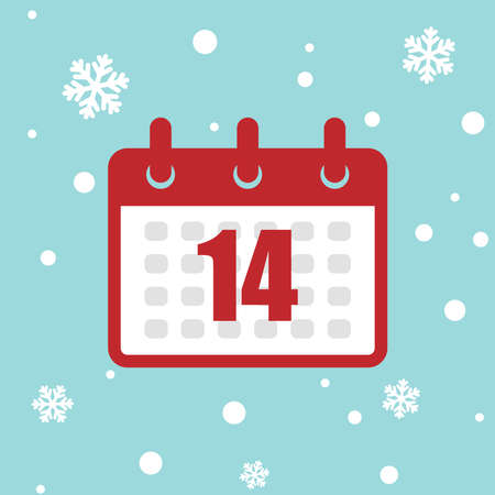 Calendar icon 14 of december isolated on snow background. Vector Christmas advent calendar. Winter holidays poster with date. Cute day decoration. Flat icon calendar.