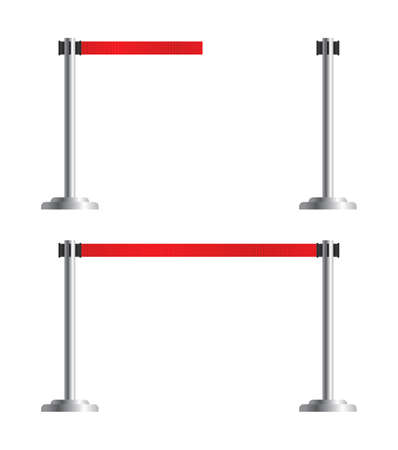 Retractable belt stanchion set. Airport fence isolated on white background. Vector portable ribbon barrier. Red striped hazard fencing tape.
