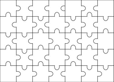 Vector solved jigsaw mock up. Puzzle background template. Set of different white pieces of puzzle isolated.