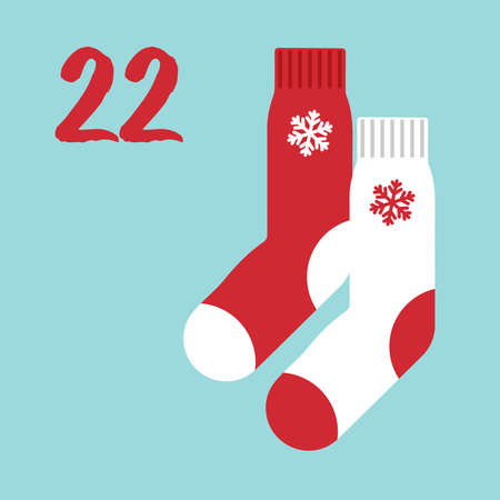 Vector Christmas advent calendar. Winter holidays poster with date 22 december. Cute day decoration. New Year socks.