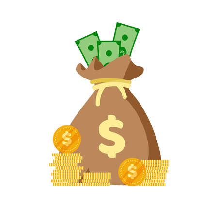 Money bag flat icon. Moneybag simple cartoon infographics isolated on white background. Money case with US dollar sign. Vector illustration.