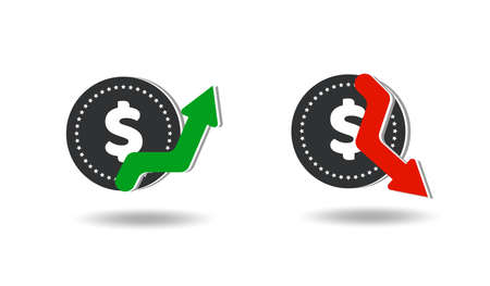 Flat dollar icon isolated on transparent background. Dollar rises and falls. Money movement. Vector illustration.