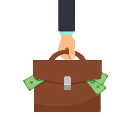 Businessman hand holds briefcase for money. Vector illustration of money bag, dollars sign.