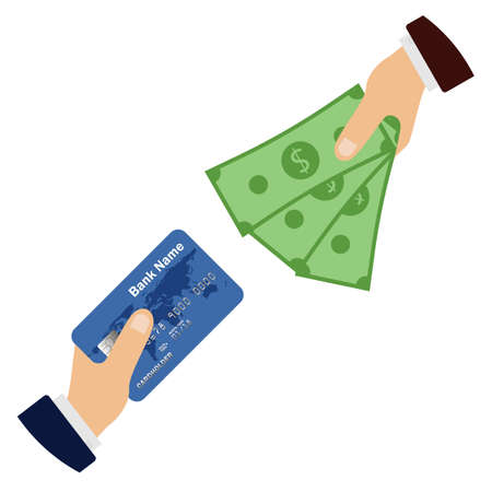 Hand holding a credit card and money. Flat design of online payment. Cash withdrawal. Financial operations. Vector illustration. Isolated. 向量圖像