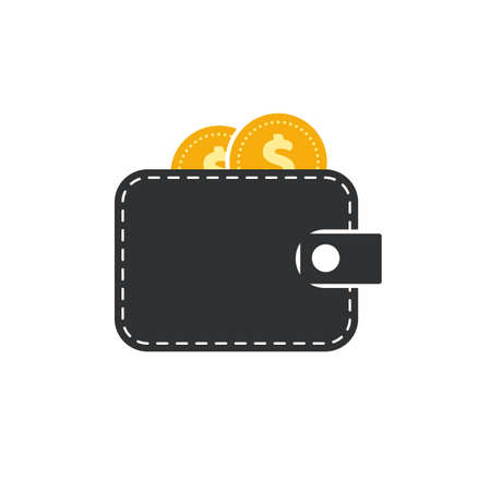 Flat design of wallet icon on transparent background. Black wallet with golden coins. Vector illustration. Isolated