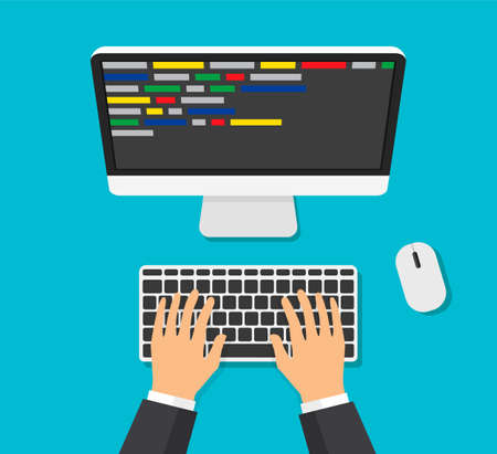 Programmer working writing code. Man typing on the keyboard with code on the screen. Web developer, design, programming. Coding concept. Isolated vector illustration. Overhead view Vecteurs