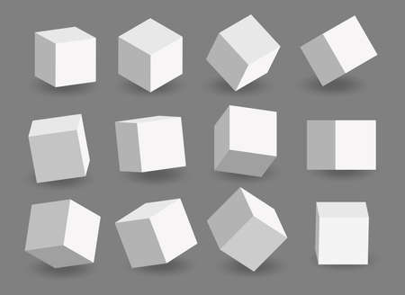 Set of white vector 3d cubes. Cube icons in a perspective. Geometric blocks with shadow. Vector illustration isolated on gray background.