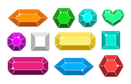 Vector shine colorful diamond set isolated on white background. Jewelry gems collection. Fantasy stones for game.