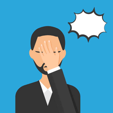 Flat style of man with a gestures facepalm expression. Man with hand flopping her forehead. Headache, disappointment or shame. Epic fail emotion. Isolated vector illustration. Illusztráció