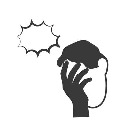 Icon of man with a gestures facepalm expression. Man with hand flopping her forehead. Headache, disappointment or shame. Epic fail emotion. Isolated vector illustration. Vettoriali