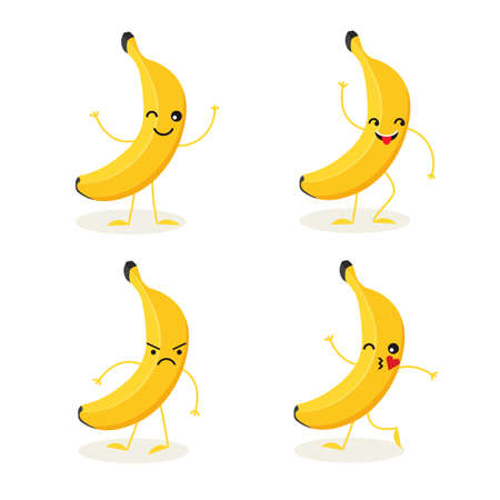 Vector cartoon banana character in different action emotions. Tropical fruit in many expressions isolated on white background. Vegan food vector icon in a trendy flat style. Healthy food concept.