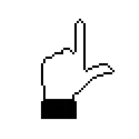 Flat pixelated hand gesture. Pixel direction symbol. Non-verbal or manual communication, emotional expressions, body language. Vector illustration. Isolated Illustration