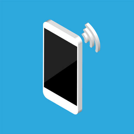 Isometric design of smartphone with wi fi signal. Vector phone blank screen template. Isolated. Wi-Fi concept.