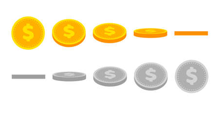 Gold dollar coin animation for game and apps. Vector golden coins in different shapes or position. Illustration of money turn around. Growth, income, savings, investment.