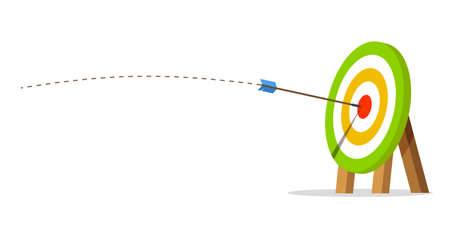 Target with an arrow hit the center. Business challenge and goal achievement concept. Flight path. Vector illustration isolated on white background.
