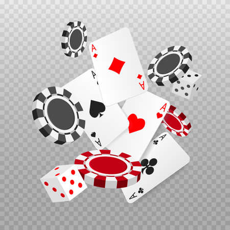 Falling or flying aces poker cards, playing chips and dice. Playing card. Casino advertising banner. Vector illustration isolated on transparent background. Ilustración de vector