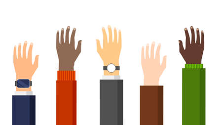 People hands of different nationalities raised up. Various skin color, gender. United culture and ethnic groups. Asian, arab, african, american, europian arm. Teamwork concept. Vector illustration. Ilustración de vector