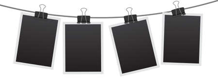 Blank instant photo frame set hanging on a clip. Black empty vintage photo frames templates. Vector illustration isolated on white background.