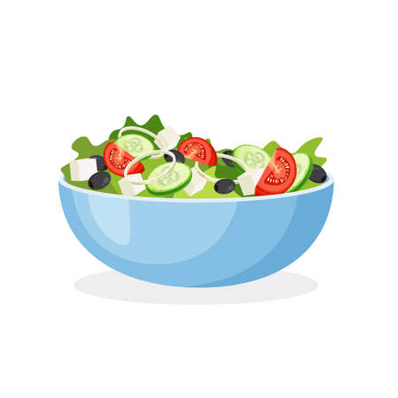 Greek salad on a plate. Set of fresh vegetables in a bowl. Vector illustration isolated on a white background.