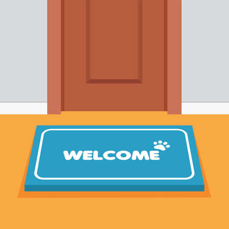 Doormat in front door. House threshold. Element of home decor, front view. Carpet with the welcome text. Greeting and invitation to come in. Vector Illustration. Ilustración de vector