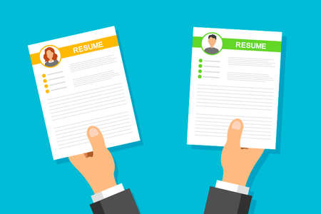 CV application set. Businessman and women resume in man hands. Search and select professional staff. Recruitment and employment. Job interview concept. Vector illustration.