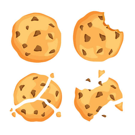 Traditional chip cookies with crumbs. Bitten and broken cookie with chocolate. Vector illustration isolated on white background.
