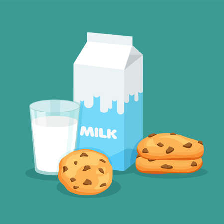 Milk packaging and full glass of milk with traditional chip cookies with chocolate. Carton pack template for your design. Vector illustration isolated on blue background.