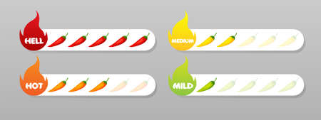 Chili pepper strength scale indicator. Mild, medium, hot and hell level. Vector illustration isolated. Infographic design template.