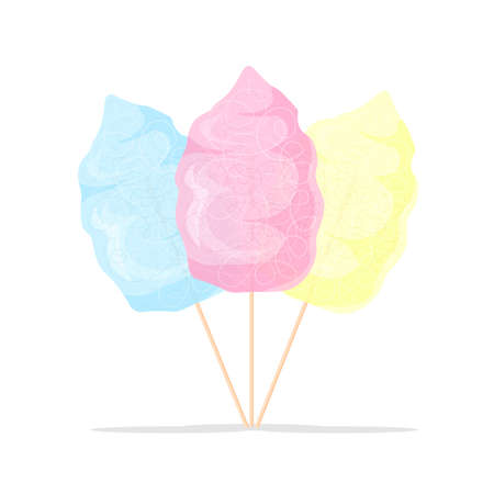 Pink, blue and yellow cotton candy. Food icon. Vector illustration product for attractions and festivals. Illustration