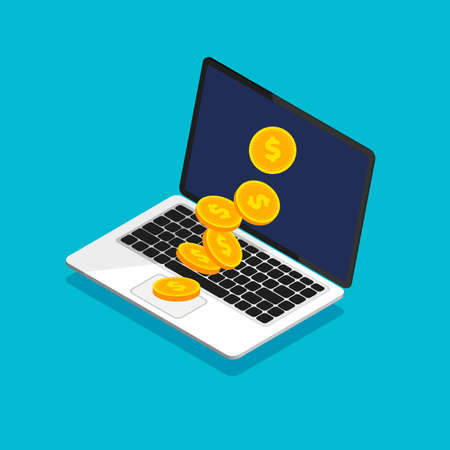 Open laptop with coin heap in trendy isometric style. Falling coins. Money movement and online payment. Online banking concept. Cashback or money refund. Vector illustration. Illustration