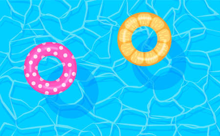 Swimming pool summer background with colorful lifebuoys. Pool party template banner. Float rings. Vector illustration in trendy flat style.