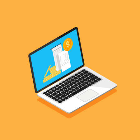 Online banking and payment. Isometric laptop with receipt and coins on a display. Vector illustration isolated on color background. Illustration