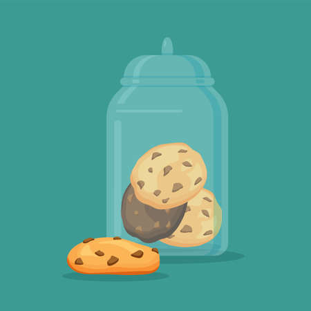 Traditional chip cookies with chocolate in the glass jar or vase. Vector illustration isolated