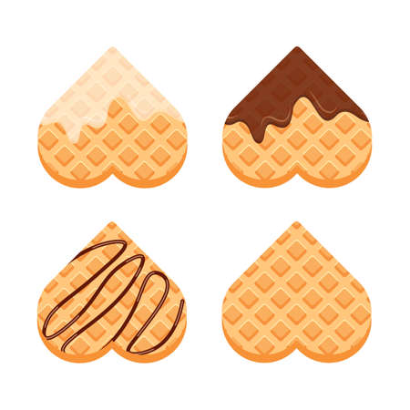 Viennese or belgian waffles with vanilla cream and chocolate. Set of heart shaped waffle. Vector illustration in trendy flat style isolated on white background