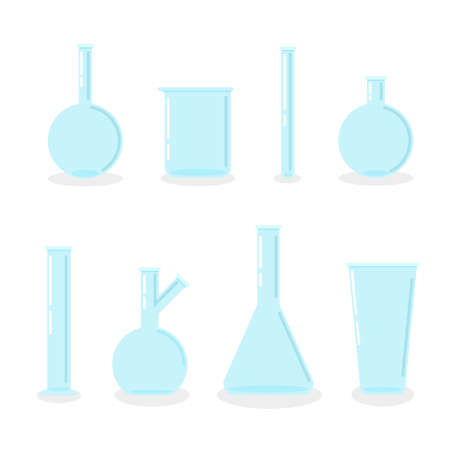 Set of empty laboratory flasks, chemical glass tubes and beakers. Transparent glassware. Vector illustration in trendy flat style.